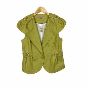 NWT RW & Co spring green button front vest